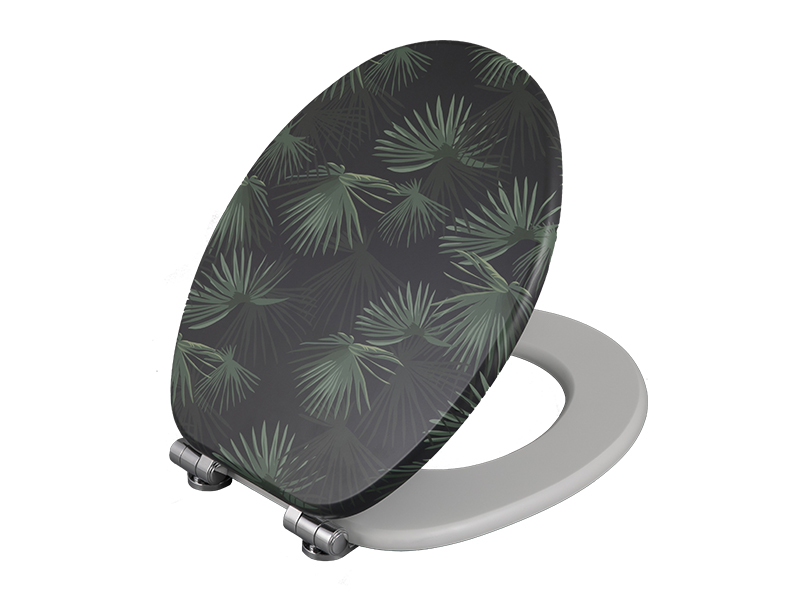 Bofan MDF UV printed green plant pattern Wc toilet seat cover easy to install toilet lid