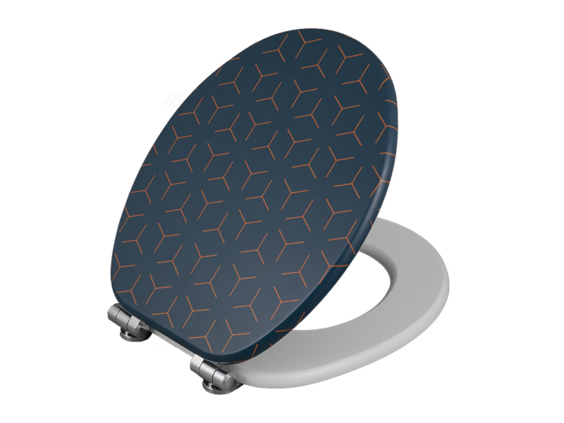 Bofan MDF UV printed geometric pattern Wc toilet seat cover easy to install toilet lid