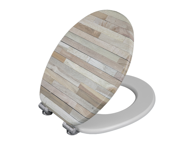 Private customized Bofan molded wood UV printed floor texture toilet sanitary elongated non-electric toilet seat